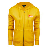 ENZA Ladies Gold Fleece Full Zip Hoodie-Primary Logo