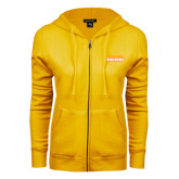 ENZA Ladies Gold Fleece Full Zip Hoodie-Thunderbirds Word Mark