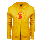 ENZA Ladies Gold Fleece Full Zip Hoodie-Thunderbird Head