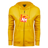 ENZA Ladies Gold Fleece Full Zip Hoodie-NM Head Logo
