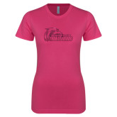 Next Level Ladies SoftStyle Junior Fitted Fuchsia Tee-Primary Logo Foil