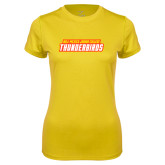 Ladies Syntrel Performance Gold Tee-Thunderbirds Word Mark