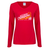 Ladies Red Long Sleeve V Neck Tee-2019 Baseball Champions