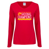 Ladies Red Long Sleeve V Neck Tee-2019 NJCAA National Outdoor Track and Field Champions