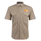 Khaki Short Sleeve Performance Fishing Shirt-Primary Logo