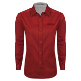 Ladies Red Twill Button Down Long Sleeve-Thunderbirds Word Mark