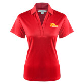 Ladies Red Performance Fine Jacquard Polo-Primary Logo