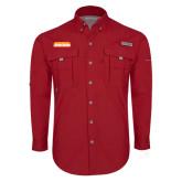 Columbia Bahama II Red Long Sleeve Shirt-Thunderbirds Word Mark