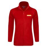Ladies Fleece Full Zip Red Jacket-Thunderbirds Word Mark