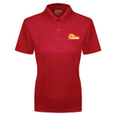 Ladies Red Dry Mesh Polo-Primary Logo