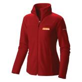 Columbia Ladies Full Zip Red Fleece Jacket-Thunderbirds Word Mark