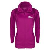 Ladies Sport Wick Stretch Full Zip Deep Berry Jacket-Primary Logo