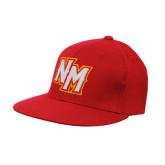 Red OttoFlex Flat Bill Pro Style Hat-NM Lettermark