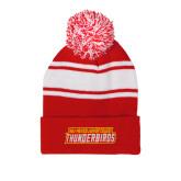 Red/White Two Tone Knit Pom Beanie w/Cuff-Thunderbirds Word Mark