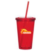 Madison Double Wall Red Tumbler w/Straw 16oz-Primary Logo