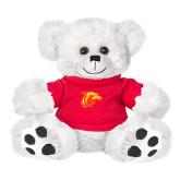 Plush Big Paw 8 1/2 inch White Bear w/Red Shirt-Thunderbird Head