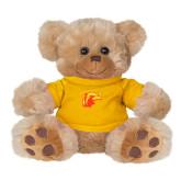 Plush Big Paw 8 1/2 inch Brown Bear w/Gold Shirt-Thunderbird Head