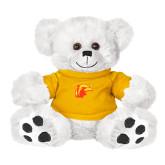 Plush Big Paw 8 1/2 inch White Bear w/Gold Shirt-Thunderbird Head