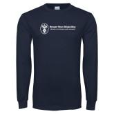 Navy Long Sleeve T Shirt-Newport News Shipbuilding