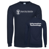 Navy Long Sleeve T Shirt-Information Technology