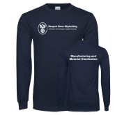 Navy Long Sleeve T Shirt-Manufacturing and Material Distribution