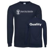 Navy Long Sleeve T Shirt-Quality