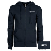 ENZA Ladies Navy Fleece Full Zip Hoodie-ISCVN