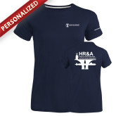 Ladies Russell Navy Essential T Shirt-HR and A
