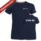 Ladies Russell Navy Essential T Shirt-CVN 80 and 81