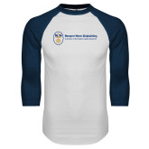 White/Navy Raglan Baseball T Shirt-Newport News Shipbuilding