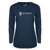Ladies Syntrel Performance Navy Longsleeve Shirt-Newport News Shipbuilding