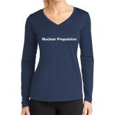 Ladies Syntrel Performance Navy Longsleeve Shirt-Nuclear Propulsion
