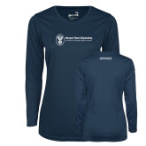 Ladies Syntrel Performance Navy Longsleeve Shirt-Manufacturing and Material Distribution