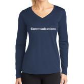 Ladies Syntrel Performance Navy Longsleeve Shirt-Comms