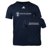 Adidas Navy Logo T Shirt-Manufacturing and Material Distribution