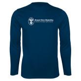 Performance Navy Longsleeve Shirt-Newport News Shipbuilding