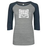 ENZA Ladies Athletic Heather/Navy Vintage Baseball Tee-NNS Vintage