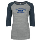 ENZA Ladies Athletic Heather/Navy Vintage Baseball Tee-NNS College Design