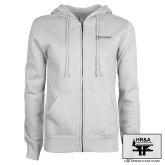 ENZA Ladies White Fleece Full Zip Hoodie-HR & A