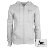 ENZA Ladies White Fleece Full Zip Hoodie-Programs Division