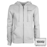 ENZA Ladies White Fleece Full Zip Hoodie-Information Technology