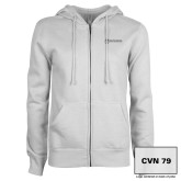 ENZA Ladies White Fleece Full Zip Hoodie-CVN 79