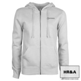 ENZA Ladies White Fleece Full Zip Hoodie-HR and A