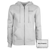 ENZA Ladies White Fleece Full Zip Hoodie-Navy Programs