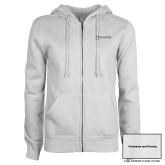 ENZA Ladies White Fleece Full Zip Hoodie-Contracts and Pricing