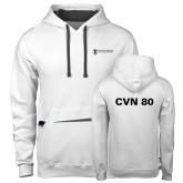 Contemporary Sofspun White Hoodie-CVN 80 and 81