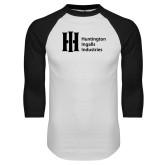White/Black Raglan Baseball T Shirt-Huntington Ingalls Industries