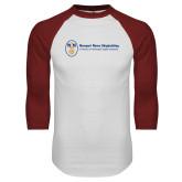 White/Cardinal Raglan Baseball T Shirt-Newport News Shipbuilding