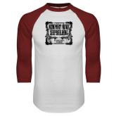White/Cardinal Raglan Baseball T Shirt-NNS Vintage