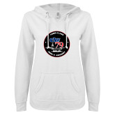 ENZA Ladies White V Notch Raw Edge Fleece Hoodie-CVN 79